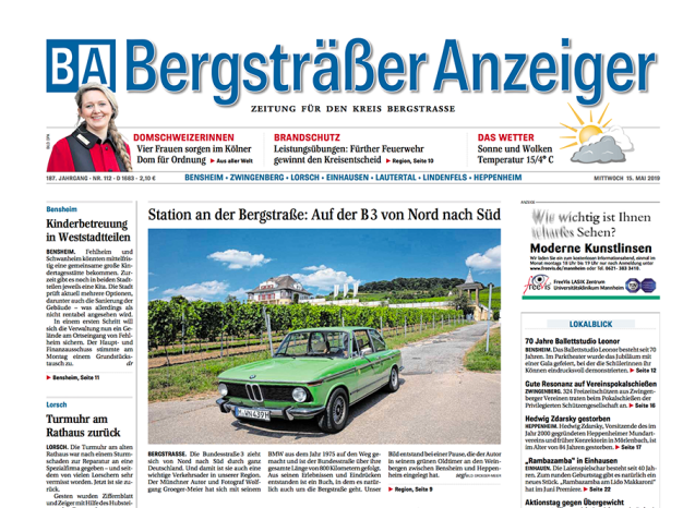 Bergsträßer Anzeiger 15.5.2019 Bundesstraße 3