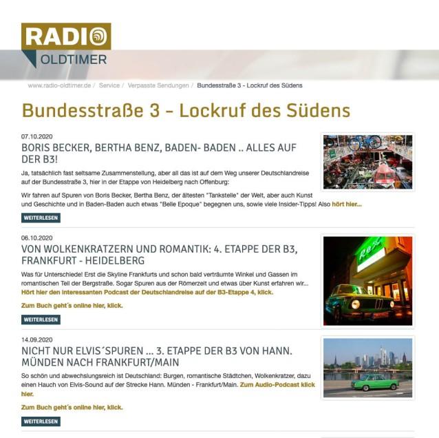 Radio Oldtimer B3 Sendungen